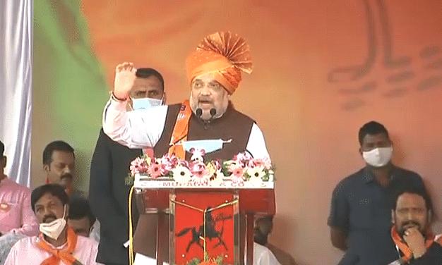 कर्नाटक के बेलगावी में अमित शाह की जनसेवक सम्मान रैली-कांग्रेस से पूछे सवाल