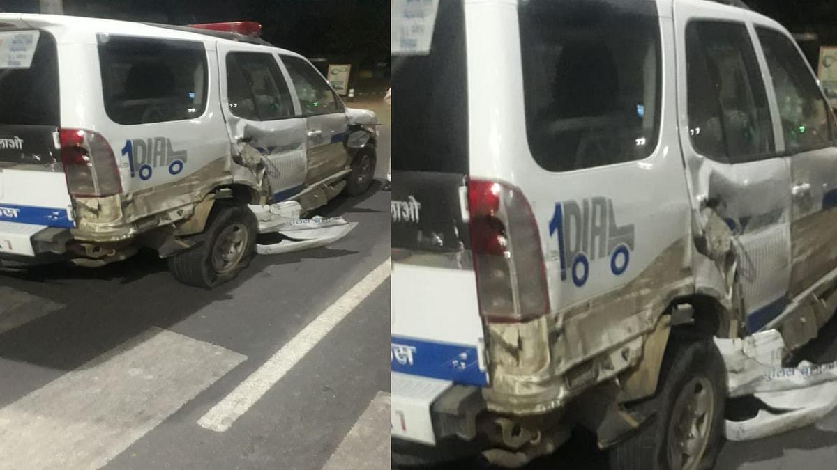 होशंगाबाद रोड पर ट्रक ने डायल हंड्रेड को मारी टक्कर, हादसे में जवान-पायलट घायल