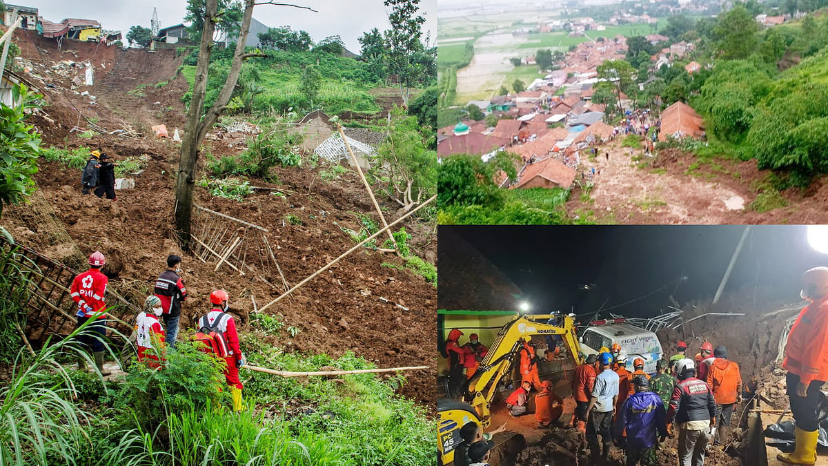 Landslide and passenger plane crashes in Indonesia