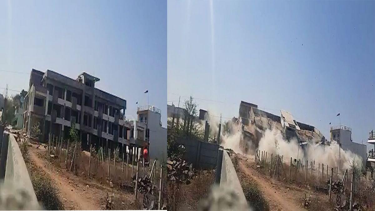भोपाल: अतिक्रमण हटाने की कार्रवाई, प्रशासन में अवैध इमारत को बम से उड़ाया