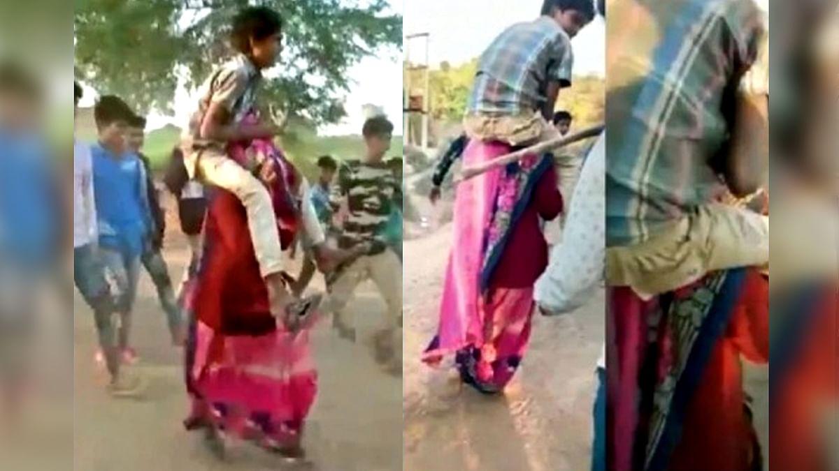 गुना: अमानवीयता की एक तस्वीर, गर्भवती महिला के कंधे पर लड़के को बैठाकर घुमाया