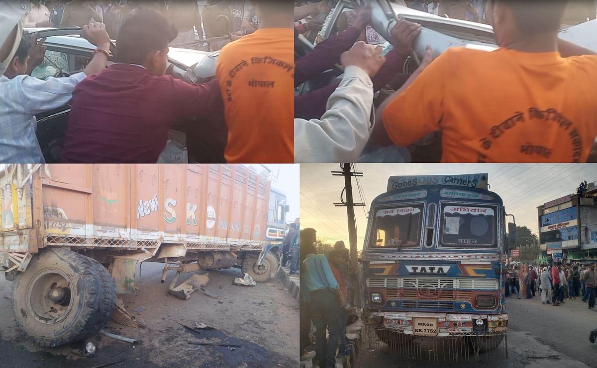 भोपाल : ट्रक-कार की भिड़ंत में कार पर चढ़े ट्रक के पहिए, कार में फंसा चालक