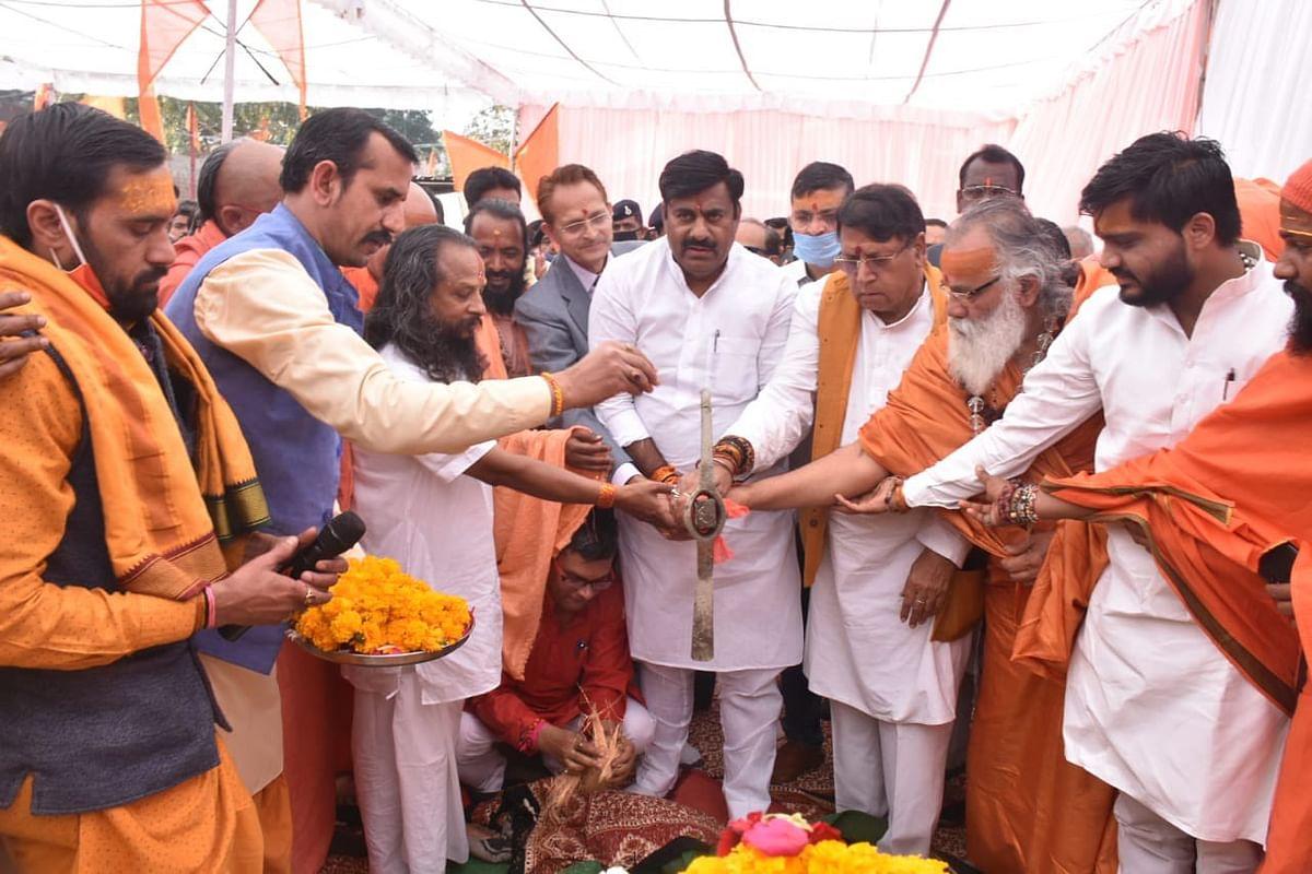 भोपाल : प्रोटेम स्पीकर शर्मा ने किया कात्यायनी मंदिर जीर्णोद्धार का भूमिपूजन
