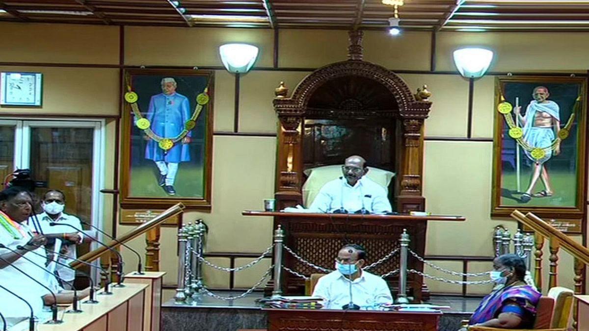 पुडुचेरी में कांग्रेस के हाथ से गई सत्ता- गिरी नारायणसामी की सरकार