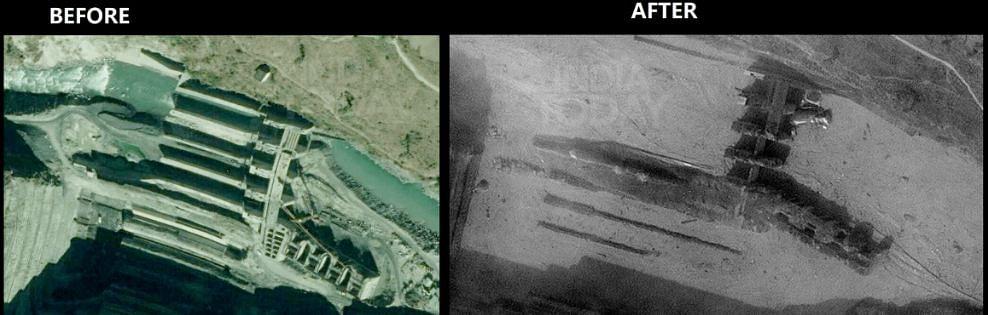 NTPC project क्षेत्र का आपदा के पहले और बाद का दृश्य।