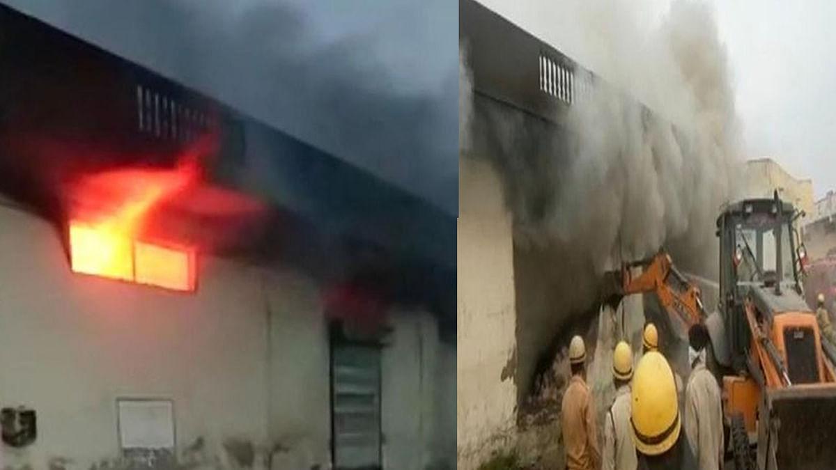 सेटअप बॉक्स के गोडाउन में लगी भीषण आग, जेसीबी से दीवार तोड़ आग पर पाया काबू