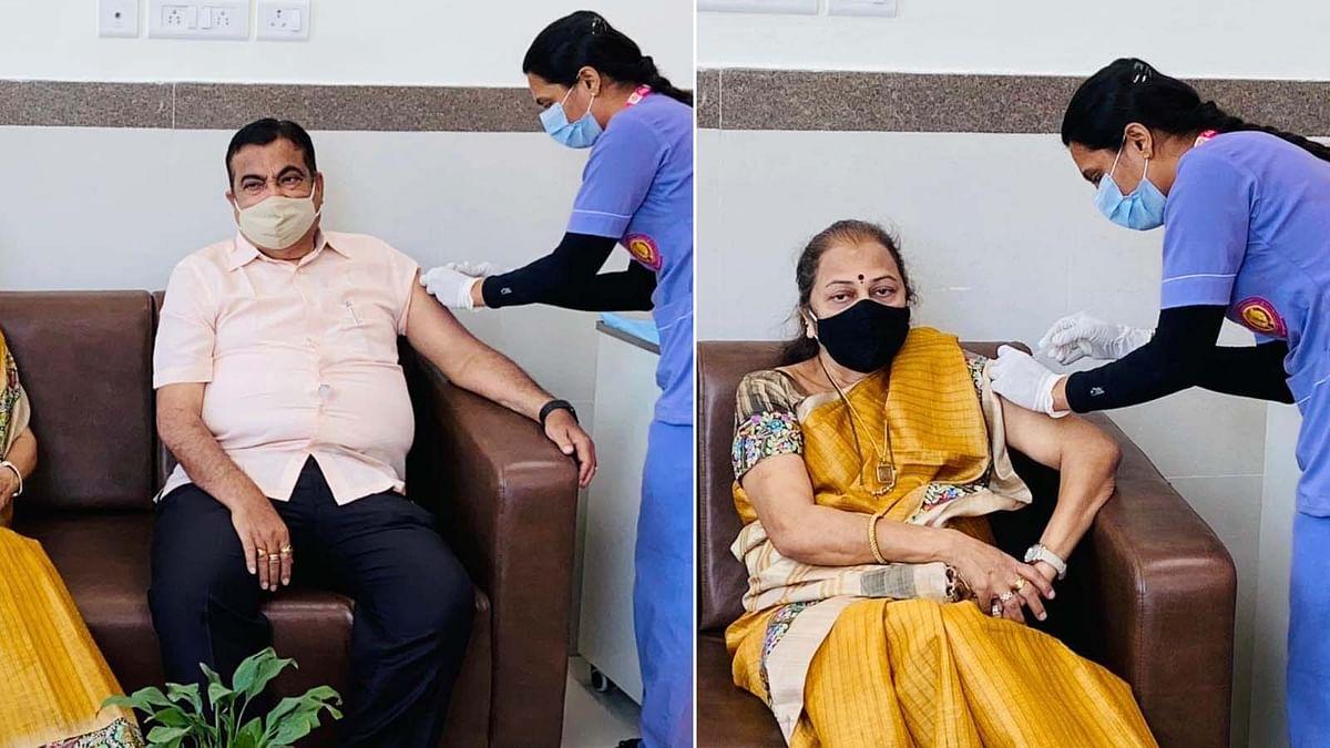 नागपुर एम्स में नितिन गडकरी और उनकी पत्नी ने ली कोरोना की पहली खुराक