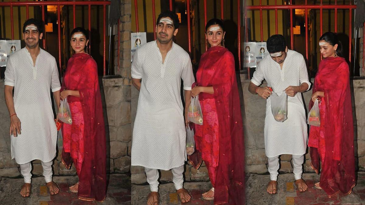 डायरेक्टर अयान मुखर्जी के साथ शिव मंदिर पहुंचीं आलिया भट्ट, देखें तस्वीरें