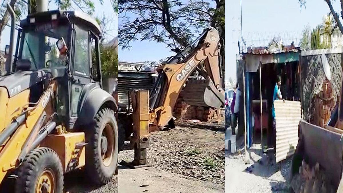 इंदौर: तुलसी नगर में अवैध निर्माण पर चला बुलडोजर