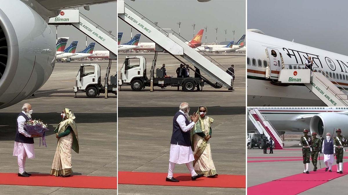 बांग्लादेश: PM मोदी को ढाका एयरपोर्ट पर रिसीव करने आई हसीना- दिया गार्ड ऑफ ऑनर