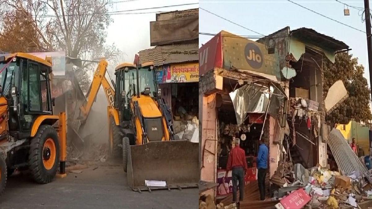 उज्जैन में कार्रवाई: प्रशासन ने नरेश जिनिंग मिल कंपाउंड की दुकानों को ढहाया