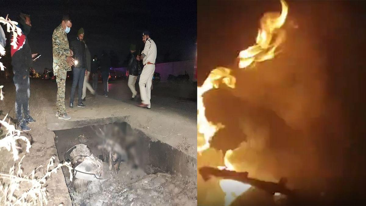 इंदौर: दर्दनाक हादसे में जिंदा जला युवक, स्कूटर सहित शव को निकाला बाहर