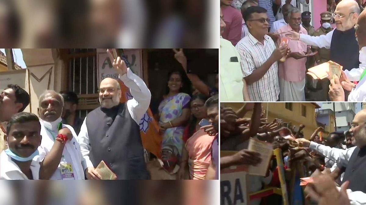 तमिलनाडु में अमित शाह का डोर-टू-डोर कैंपेन, घर-घर जाकर दिया ये संदेश