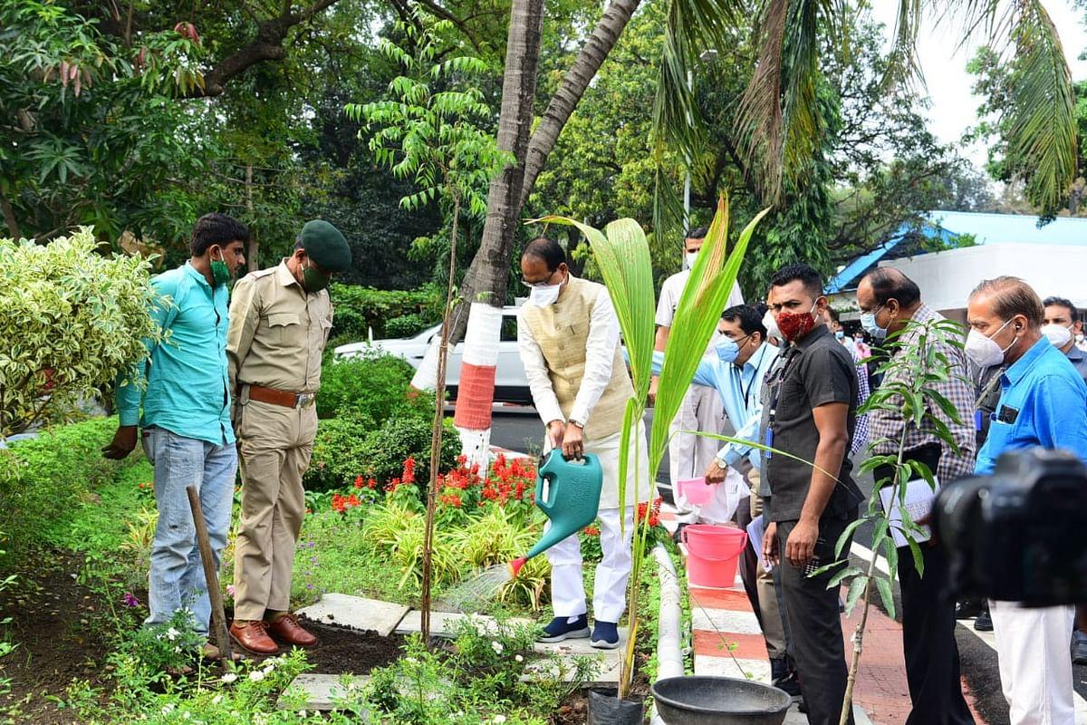 पौधारोपण की परंपरा जारी: आज मुख्यमंत्री शिवराज ने निवास पर लगाया नीम का पौधा