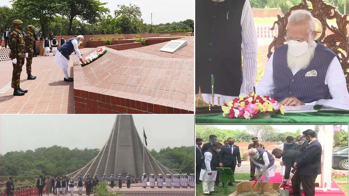 बांग्लादेश के शहीद स्मारक में PM मोदी ने लगाया पेड़ व विजिटर बुक पर लिखा संदेश