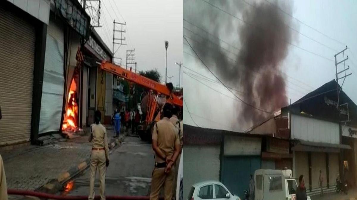इंदौर: टिंबर मार्केट की दुकान में लगी भीषण आग, करोड़ों रुपए का सामान हुआ खाक