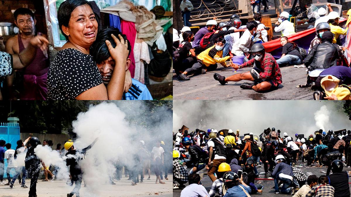 म्यांमार में जारी सैन्य शासन के विरुद्ध हो रहे प्रदर्शनों में 91 की गयी जान
