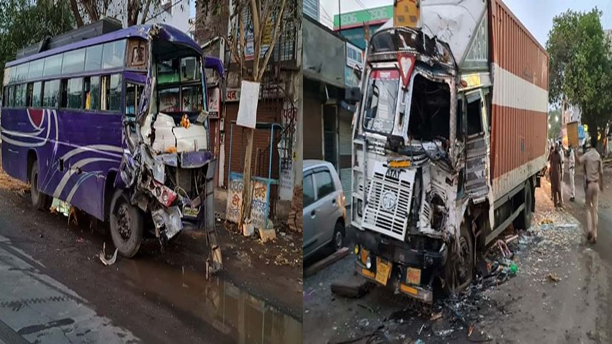 प्रतिबंध के बाद भी हादसा: बस और ट्रक की हुई जोरदार टक्कर- कई यात्री घायल