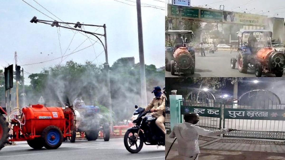 इंदौर: कोरोना के बढ़ते प्रकोप के चलते पूरे शहर में सैनिटाइजेशन का काम शुरू