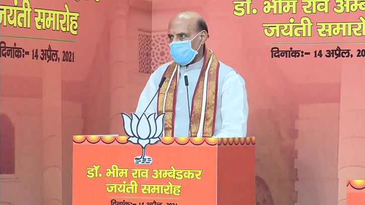 दिल्ली: भीमराव अम्बेडकर जयंती समारोह में रक्षा मंत्री राजनाथ का संबोधन