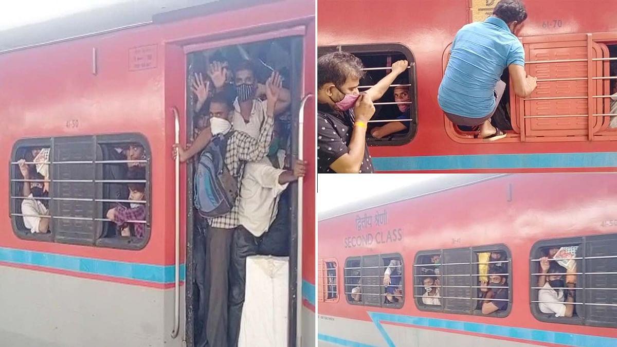 मुंबई में प्रवासी मजदूरों को कोरोना से अधिक लॉकडाउन का डर- खचाखच भरी ट्रेन
