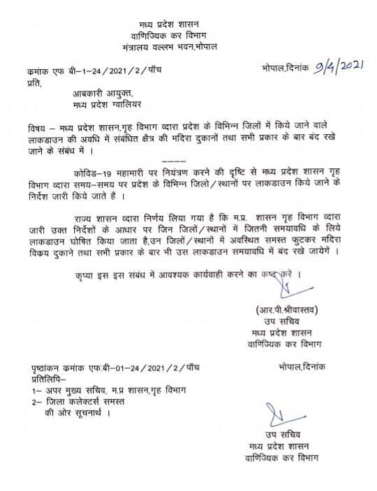 MP शासन गृह विभाग द्वारा आदेश जारी