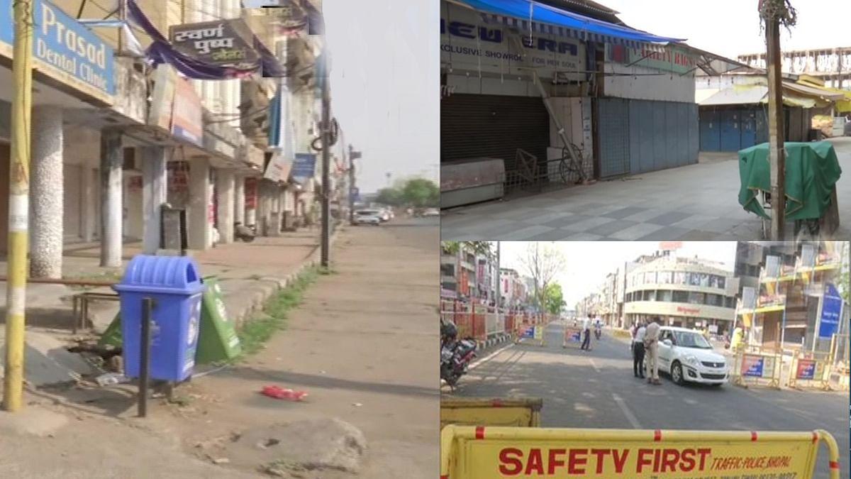राजधानी भोपाल में पुलिस की सख्ती, कोरोना कर्फ्यू के दौरान बंद दिखीं दुकानें