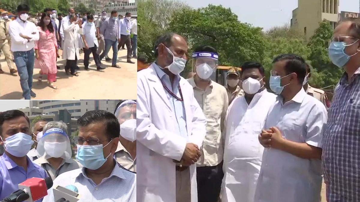 दिल्ली: CM और स्वास्थ्य मंत्री ने रामलीला ग्राउंड कोविड सेंटर का दौरा किया