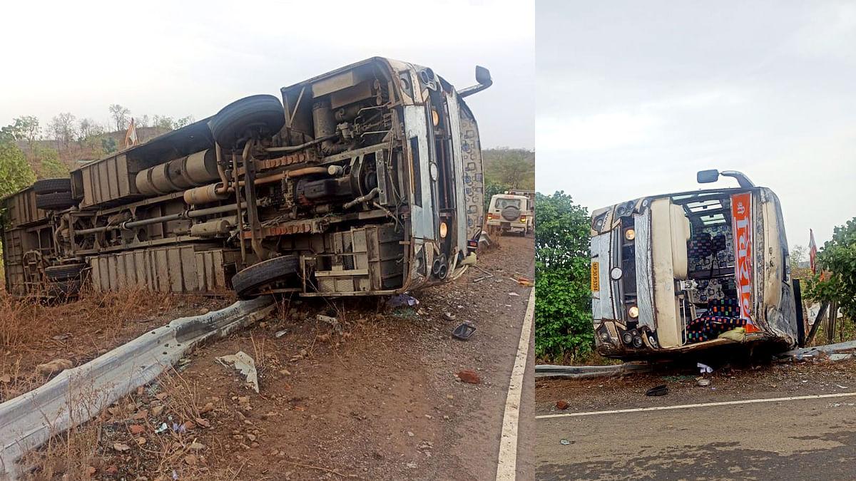 खरगोन में महाराष्ट्र सीमा पर पलटी प्रवासियों से भरी बस-एक की मौत, कई घायल