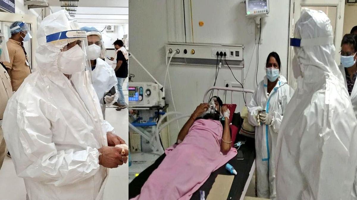 दतिया जिला अस्पताल में पहुंचे नरोत्तम मिश्रा, कोरोना मरीजों से की मुलाकात