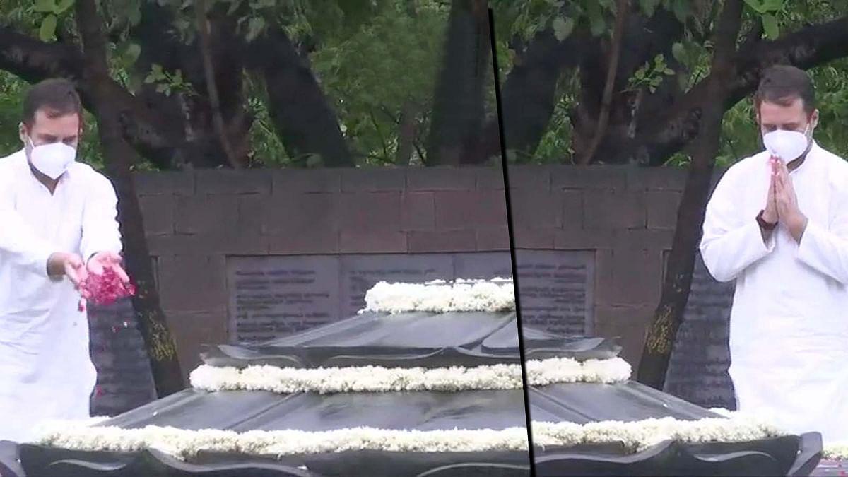 राहुल गांधी ने अपने पिता राजीव गांधी को भूमि समाधि स्थल पर दी श्रद्धांजलि