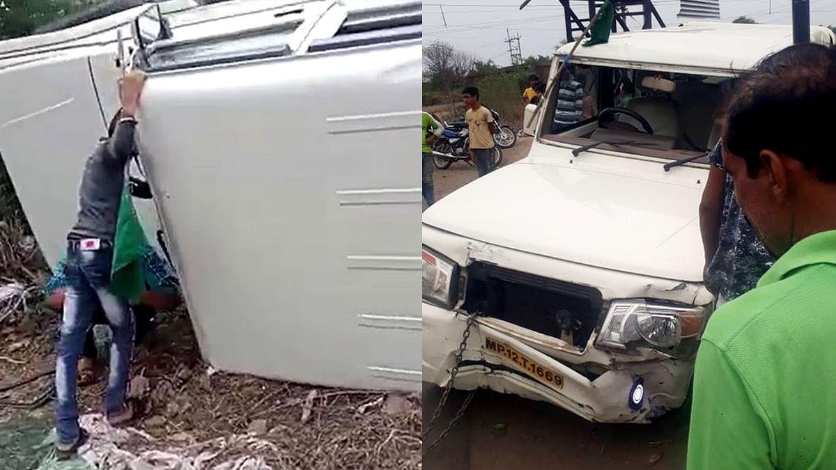खंडवा: मंत्री विश्वास सारंग के काफिले का पलटा वाहन, बाल-बाल बचे पुलिस अफसर