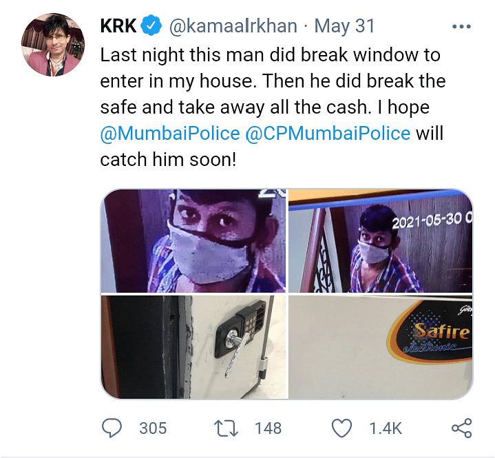 KRK के घर हुई चोरी, CCTV फुटेज शेयर कर कही यह बात