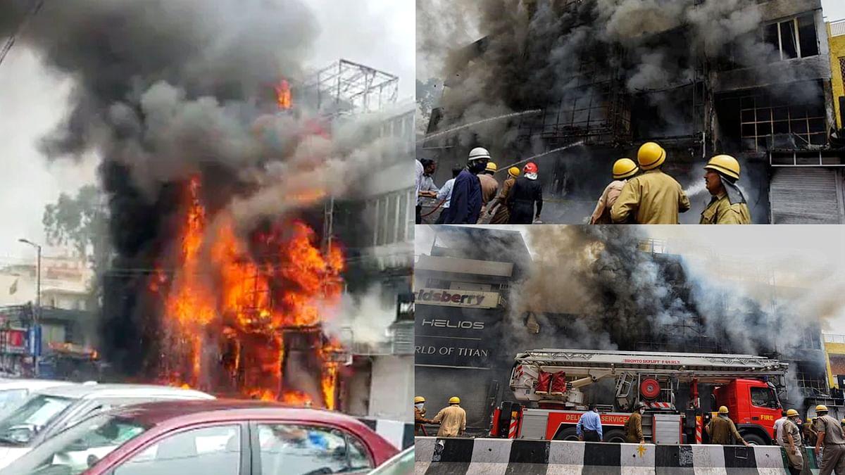दिल्ली सेंट्रल मार्केट के कपड़े शोरूम में भीषण आग- चारों ओर धुएं की धुंध