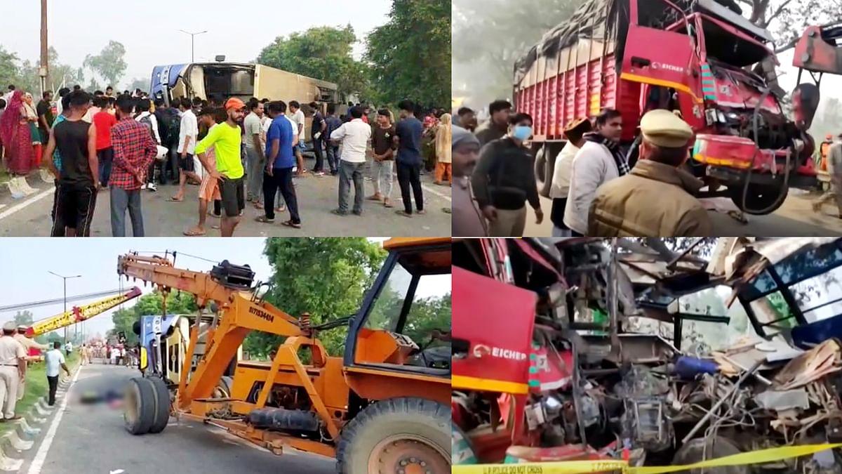 उत्तर प्रदेश के मुरादाबाद में बस-पिकअप टक्कर में 4 लोगों की मौत,18 घायल