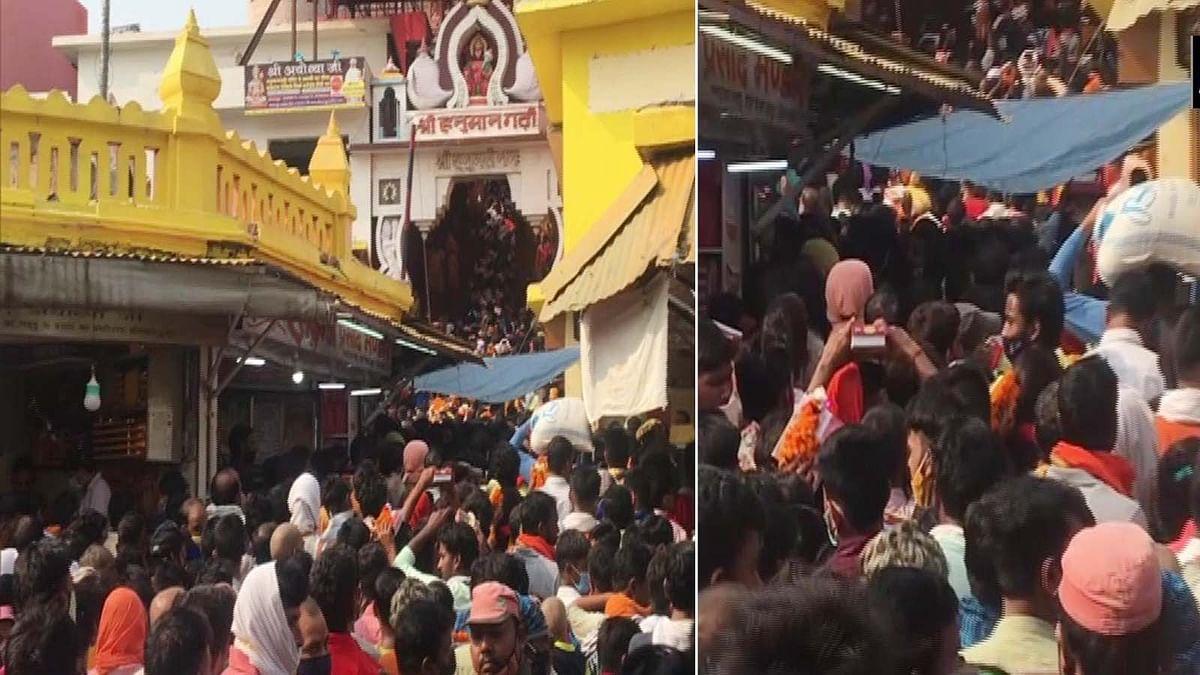 UP: हनुमान गढ़ी मंदिर में उमड़ी श्रद्धालुओं की भीड़- नियमों का किया उल्लंघन