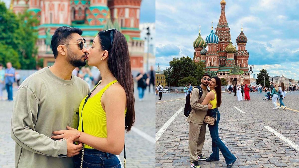 मॉस्को की सड़कों पर गौहर खान ने पति जैद को किया किस, वायरल हुईं तस्वीरें