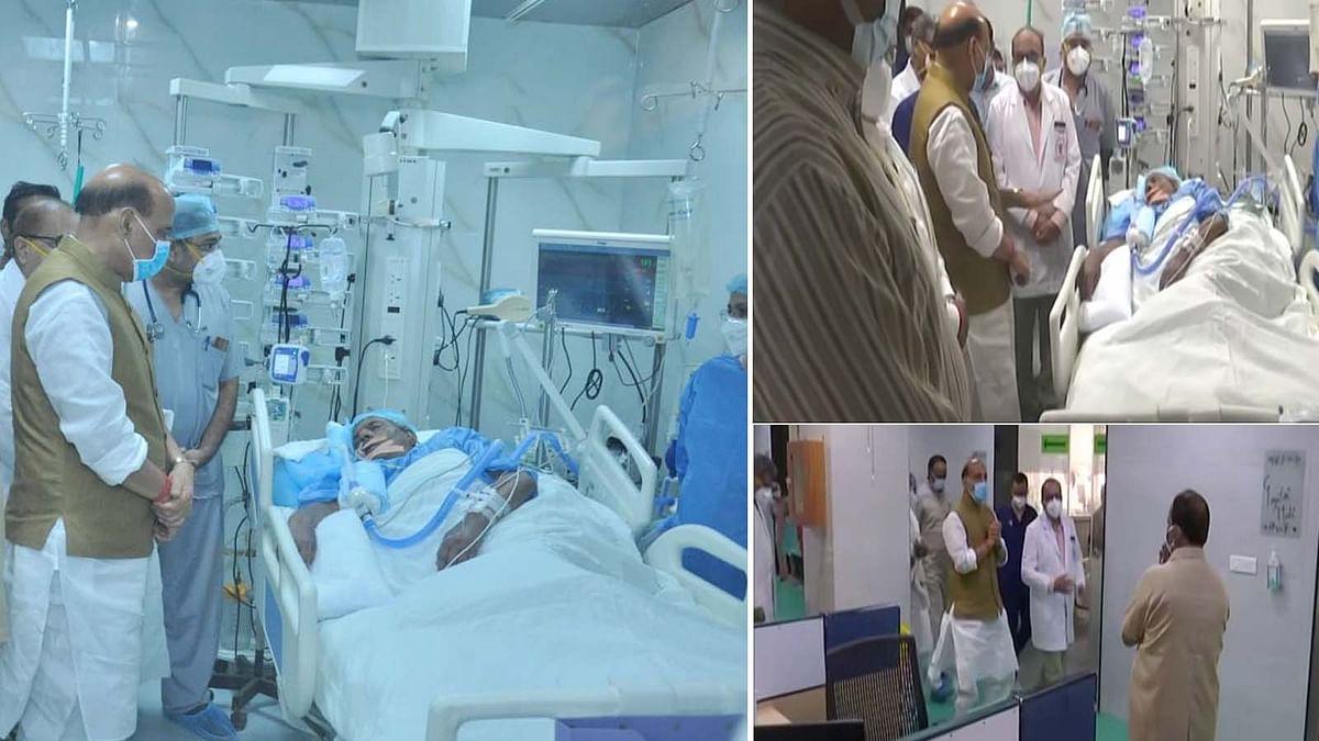 लखनऊ: अस्पताल जाकर राजनाथ ने कल्याण सिंह के कुशल क्षेम की जानकारी ली