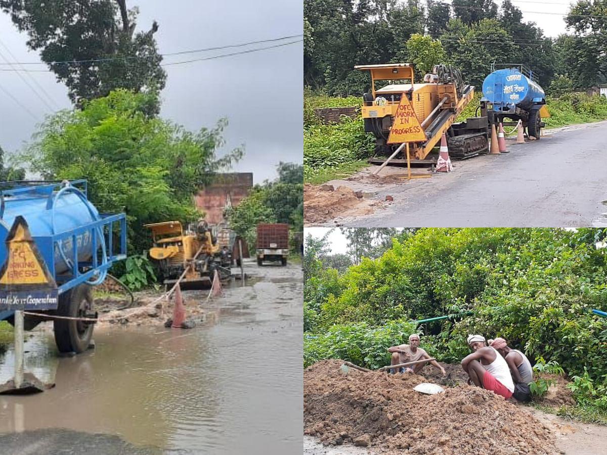 Anuppur : नल-जल योजना में पानी फेर रहा जिओ नेटवर्क का कार्य