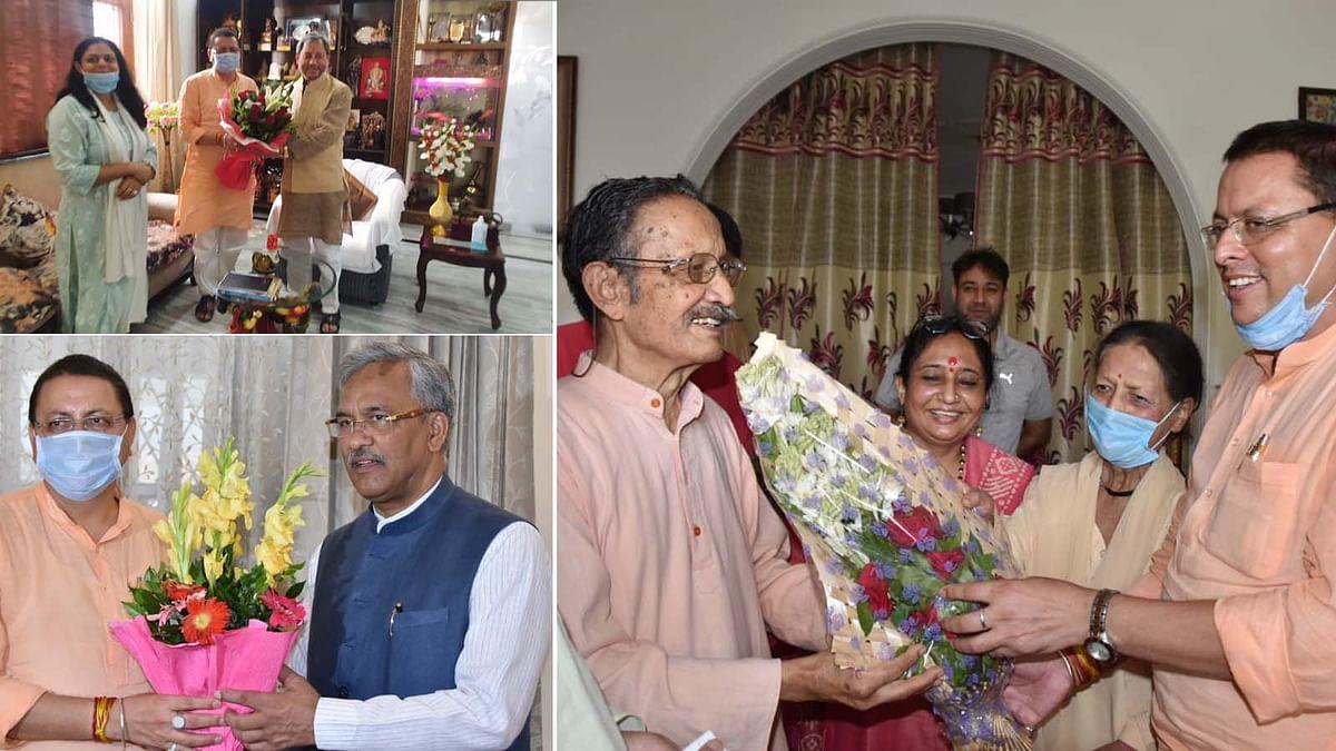 उत्तराखंड के मनोनीत CM पुष्कर धामी की पूर्व मुख्यमंत्रियों से मुलाकात