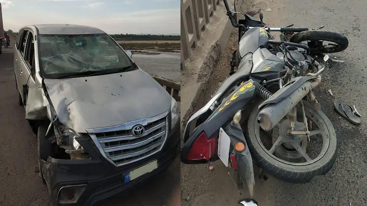 Hoshangabad Accident: नर्मदा ब्रिज पर कार-बाइक की हुई जोरदार टक्कर, 3 घायल