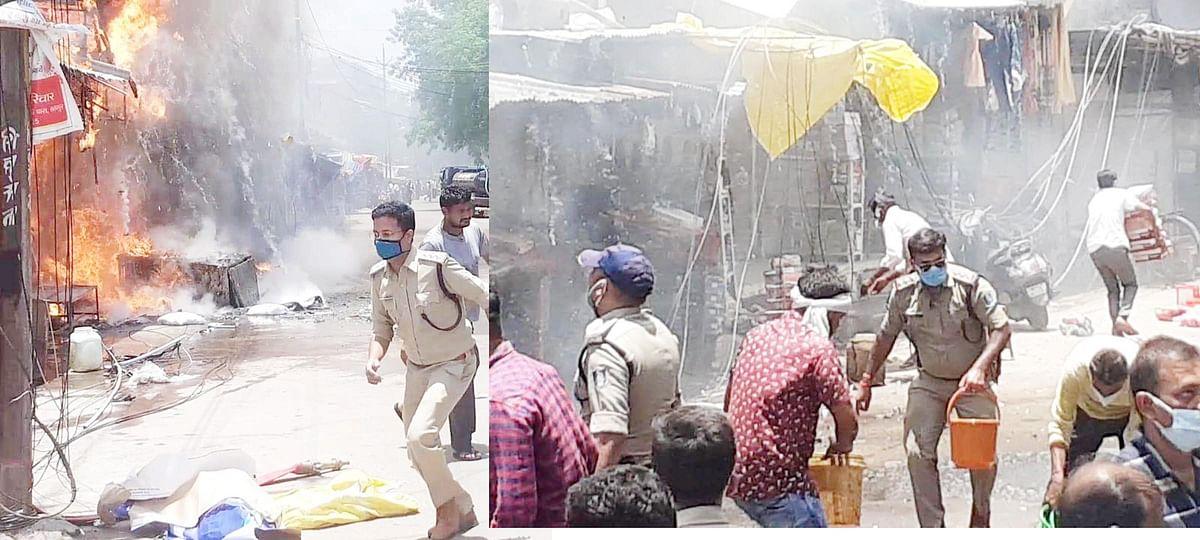 Chhatarpur : मिठाई की दुकान में सिलेण्डर फटे, आग से लाखों का नुकसान