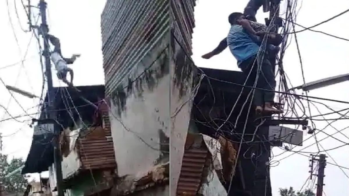 Burhanpur: रिटर्न करंट आने पर बिजलीकर्मी को लगा झटका, खंभे पर उल्टा लटका
