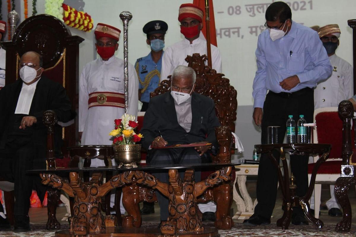 मप्र के नए राज्यपाल 'Mangubhai Chhaganbhai Patel' ने राजभवन में ली शपथ