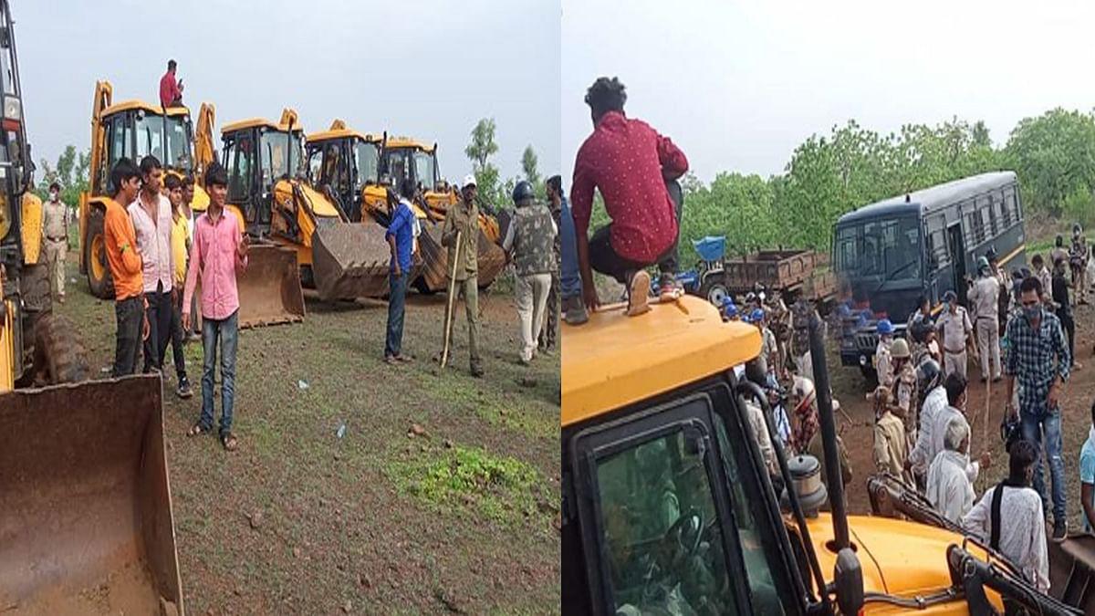 खंडवा में अतिक्रमण हटाने पहुंची पुलिस व फॉरेस्ट की टीम, तोड़े 90 अस्थाई मकान