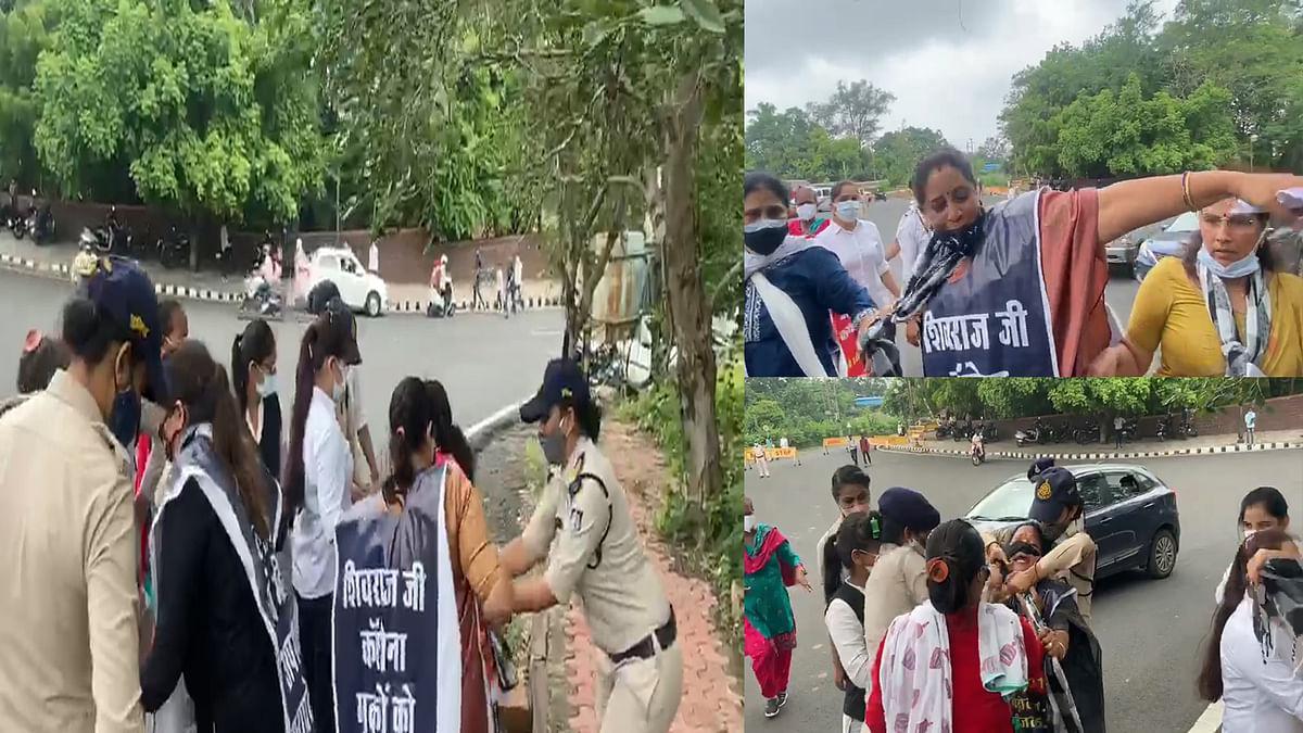 सीएम हाउस पर महिला कांग्रेस का प्रदर्शन, BJP सरकार के खिलाफ की नारेबाजी