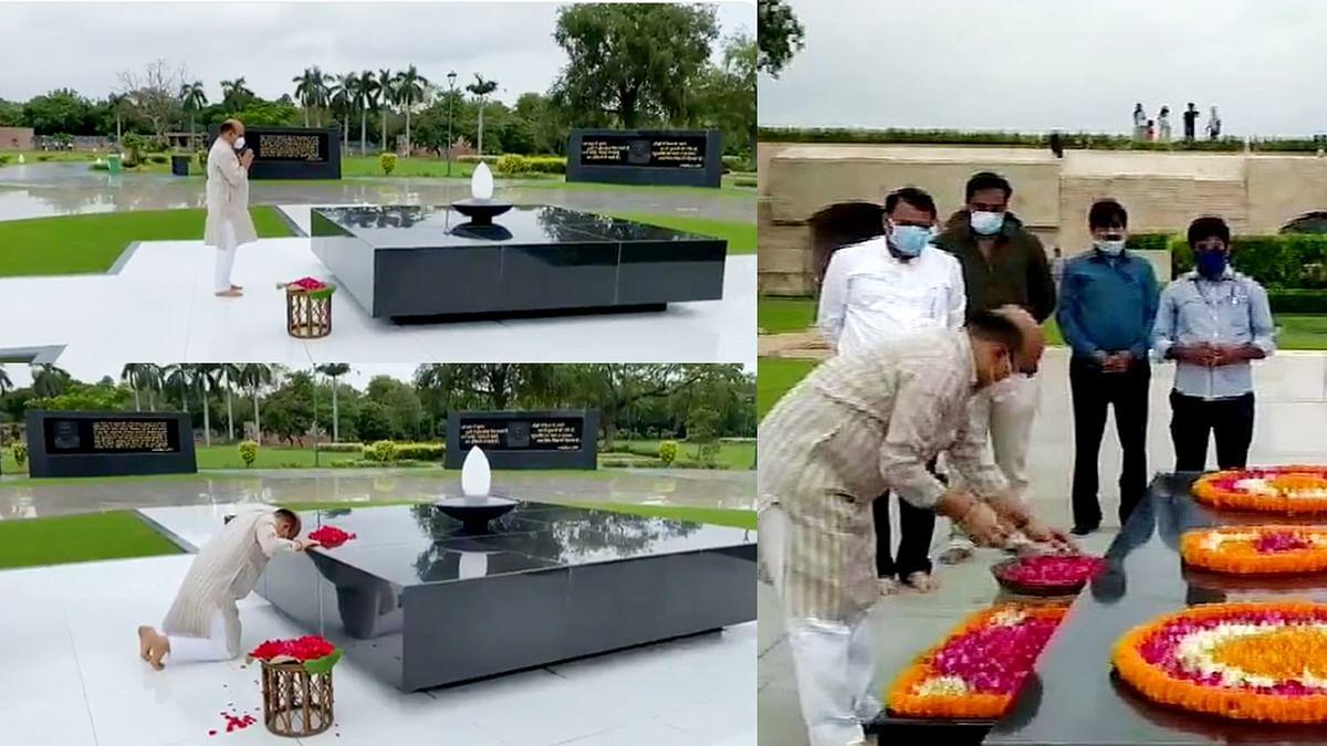 महात्मा गांधी की समाधि स्थल पर कर्नाटक के CM बोम्मई ने फूल अर्पित किए