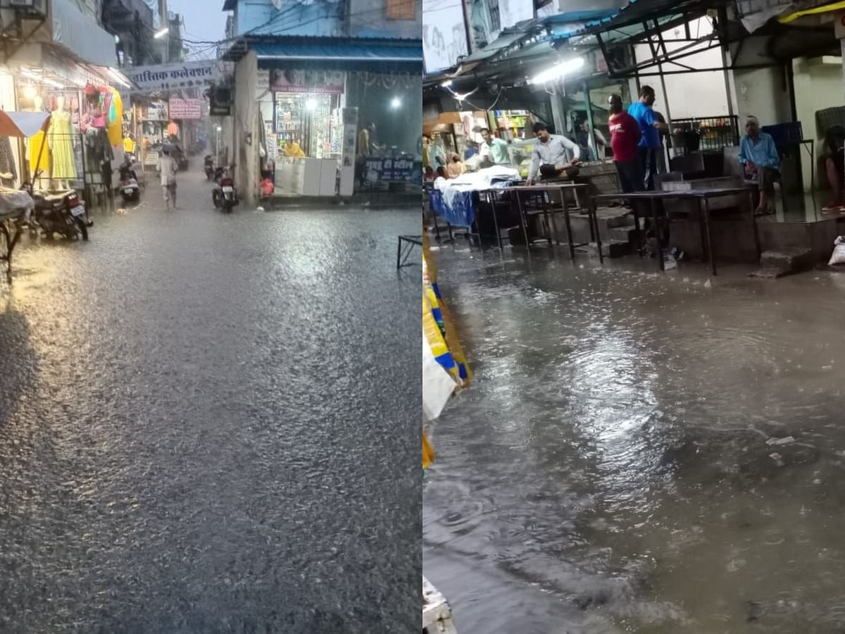 होशंगाबाद : बारिश के ट्रेलर में ही ड्रेनेज सिस्टम फेल, सड़कों पर भर गया पानी