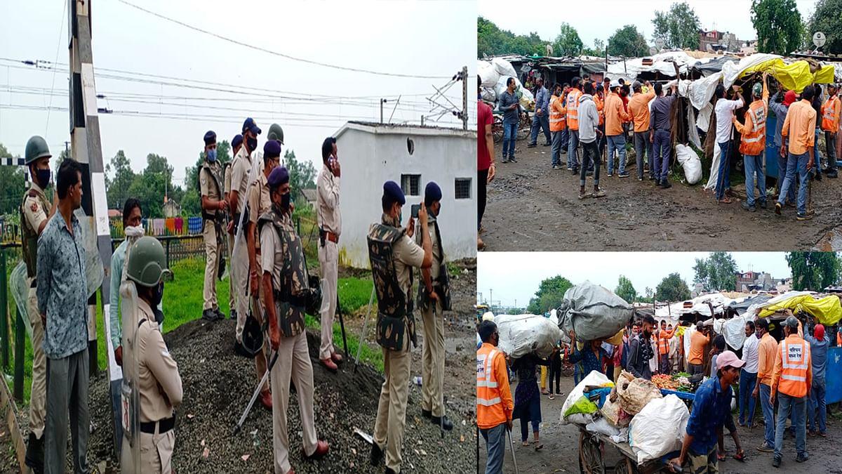 Bhopal: झुग्गी बस्ती में नाले की सफाई कराने पहुंचा प्रशासन, हटाया अतिक्रमण
