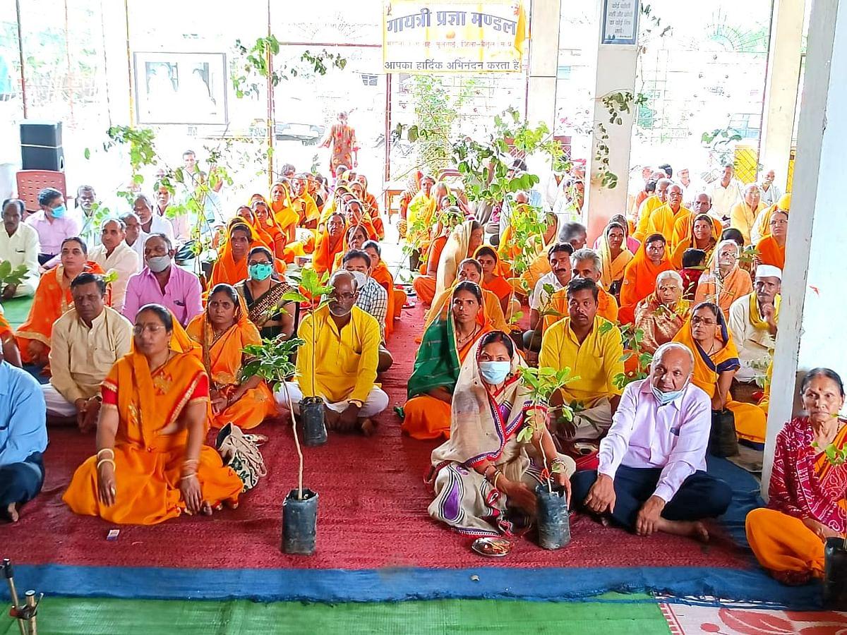 मुलताई: शांतिकुंज हरिद्वार द्वारा जूम एप से कराया गया पौधरोपण